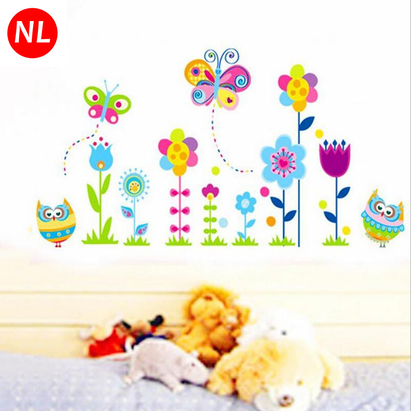 Cartoon Owl Butterfly Plant Flower Wall Stickers Kids Living Room Bedroom Bathroom Decoracion Children Wallpapers Home Decor
