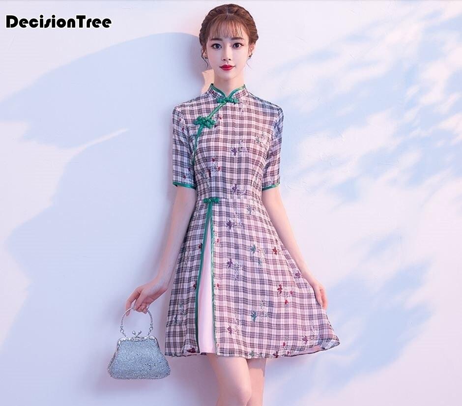 2019 vêtements d'été filles national quotidien amélioré cheongsam plaque boutons dentelle courte robe femme élégante qipao