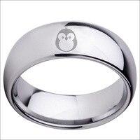 Darmowa Wysyłka Olaciao Biżuteria Gorąca Sprzedaży 8mm Polski Sliver Birdie Mens Węglik wolframu Wedding Ring