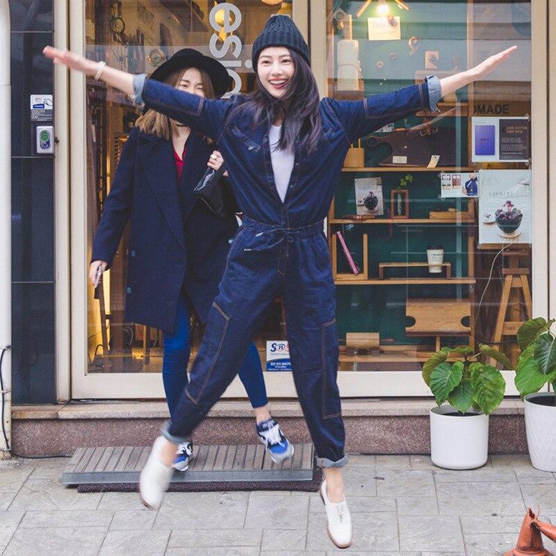 Jeans Pantalon Femelle Rétro Bleu Col Longues Automne À Denim Down Combinaisons Lâche Manches Casual Femmes Turn Des Barboteuse 4WTgWqFwP