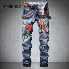 Biker males slim straight denims pants model Flower Embroidery print informal ripped Denim full size cargo Trousers Hombre vaqueros