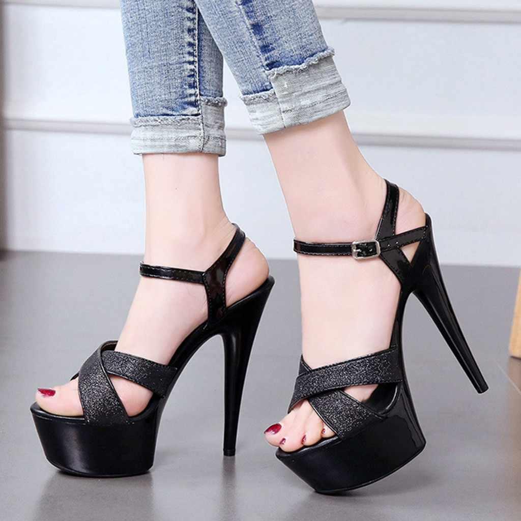 Seksi Süper Yüksek Topuklu 16 CM Sandalet Kadın Bling Stil Peep Toe Çapraz Askı Vahşi Platformu Hollow Out Toka Ince topuk Ayakkabı Siyah