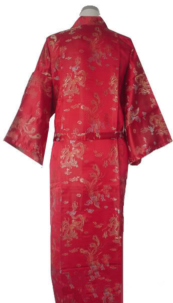 Free Shipping Red Chinese Men's Satin Polyester Robe Kimono Gown Dragon Phenix S M L XL XXL XXXL MR-007