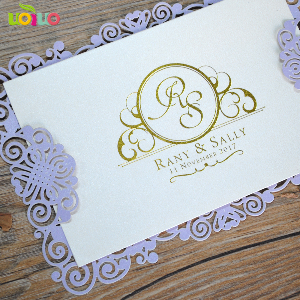Us 28 0 Cheap Price Simple Laser Cut Paper Menu Card Wedding Invitation Card Hot Stamping Letters Oem Service In Cards Invitations From Home