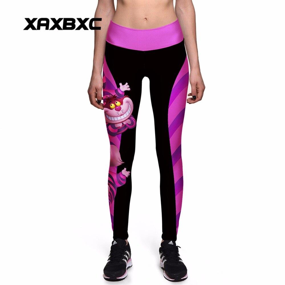NUOVO 0010 Donne Sexy Girl Alice in Wonderland Cheshire cat 3D Stampe di Alta Vita Allenamento Fitness Pantaloni Leggings