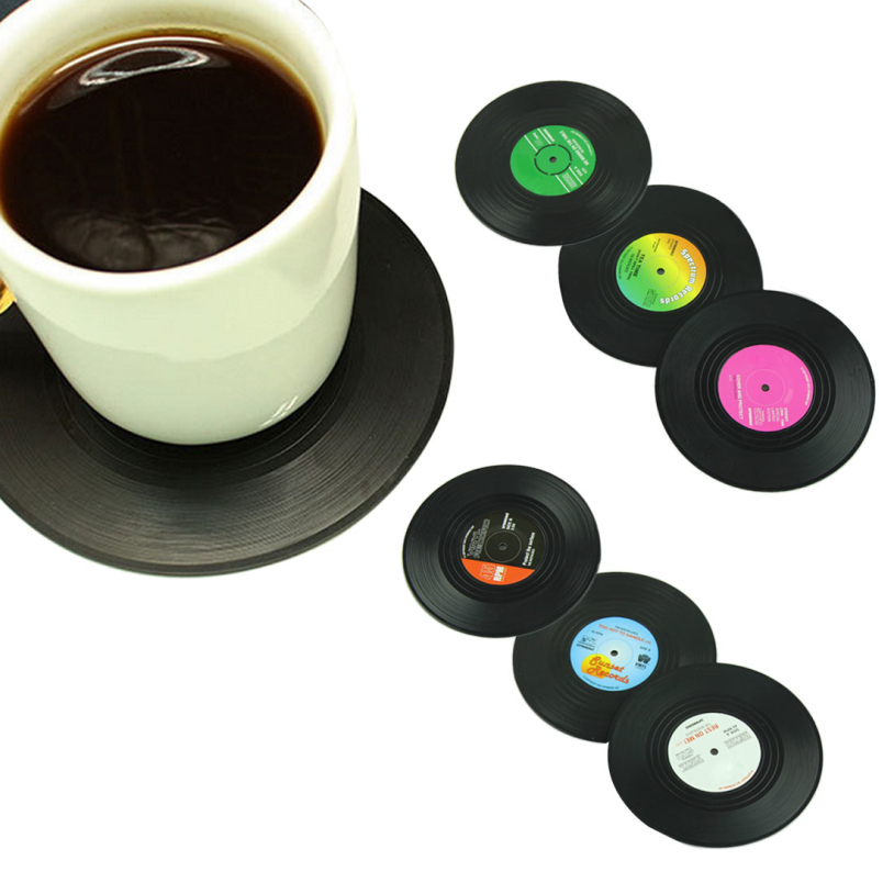 <font><b>6</b></font> Pcs/ <font><b>set</b></font> Home Table <font><b>Cup</b></font> Mat <font><b>Creative</b></font> Decor Coffee Drink <font><b>Placemat</b></font> Tableware Spinning Retro Vinyl CD Record Drinks <font><b>Coasters</b></font> UY
