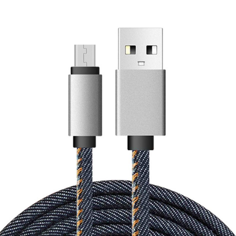 100CM Fashion USB Denim Data Line Phone Data Cable Fast Charge Wire ...