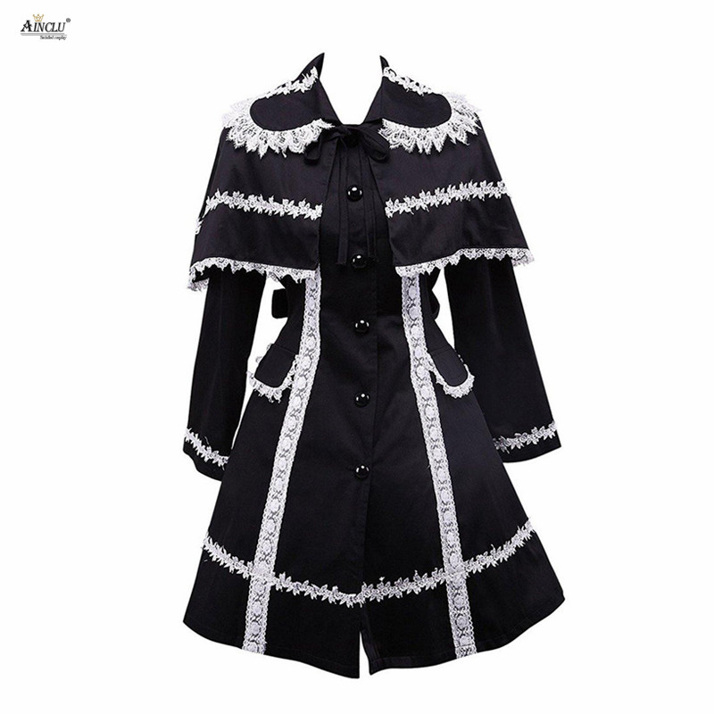 Spring/Summer/Autumn/Winter Middle-Long Dress Party Ainclu Womens XS-XXL Black Long sleeves Cotton Classic Gothic Lolita Jacket