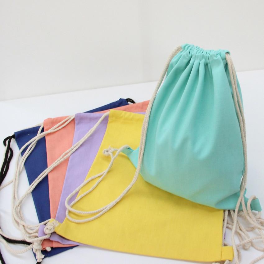 71aa43d45 Newest Blank plain Canvas Backpack women String Beach Bag men Travel  shoulder bags canvas rucksack pack bag mochila feminina-in Backpacks from  Luggage ...