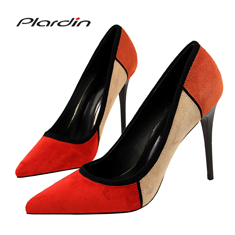 Plardin New Shoes Woman Sequins Pointed Toe Sexy Color Splicing Women Party Wedding Nightclub Thin High Heel Pumps Women ShoesPlardin New Shoes Woman Sequins Pointed Toe Sexy Color Splicing Women Party Wedding Nightclub Thin High Heel Pumps Women Shoes