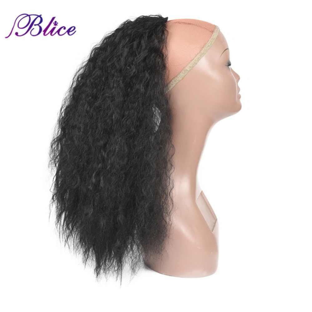 Extensiones de pelo resistentes al calor de cola de caballo rizada de 20-24 pulgadas sintéticas Blice con dos peines de plástico todos los colores disponibles