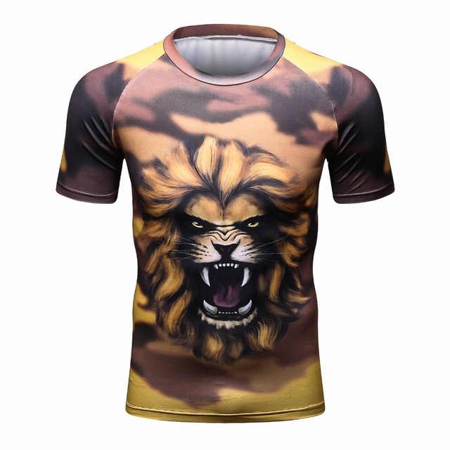 Men Compression Shirts lion 3D Print Keep Fit Fitness short Sleeves Base Layer Skin Tight Weight Lifting Elastic Mens T Shirts