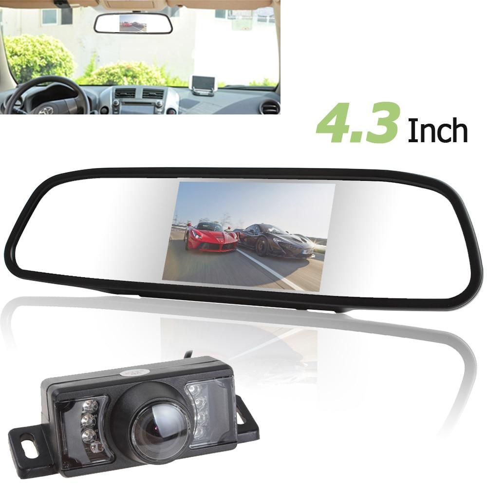 Övervaka 480 x 272 4,3 tums TFT LCD-skärm Bil Bakifrån Spegelskärm + 7 IR-ljus Nattvision Återvändande Backup Kamera