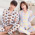 Casais pijamas de algodão de mangas compridas homens sleepwear tamanho grande primavera e outono roupas para casa amor bonito kigurumi pijama XXXL