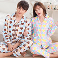 Parejas pijama de algodón de manga larga hombres la ropa de dormir de gran tamaño de primavera y otoño ropa del hogar amor lindo kigurumi pijamas XXXL