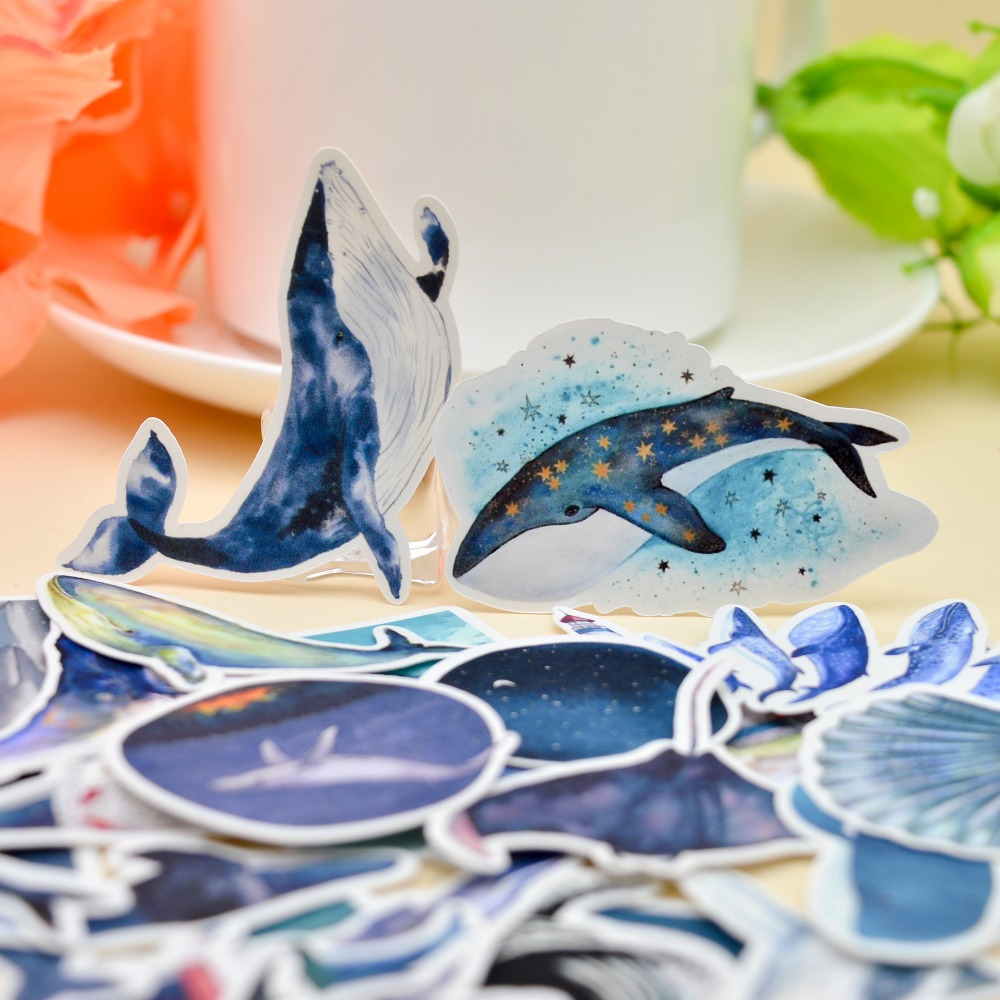 28pcs Kawaii Deep Sea Whale Sticker Planner Scrapbooking /DIY Dry Glue Blue Dolphin Sticker