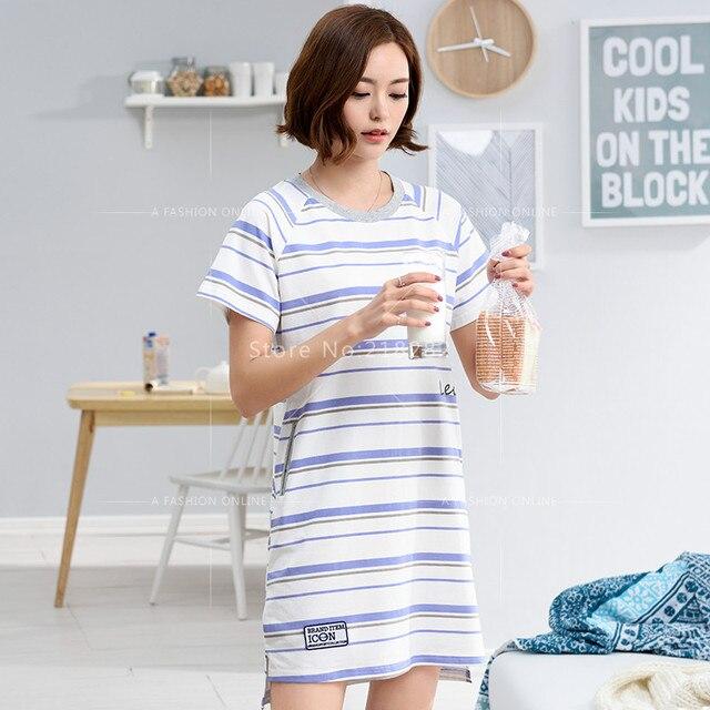 Brand New Sleepshirts Stripes Dress Shirts Homewear Women Cotton Sleepshirts  Sweet Sleepwear Casual Lounge Shirt Dresses 16a590b0f