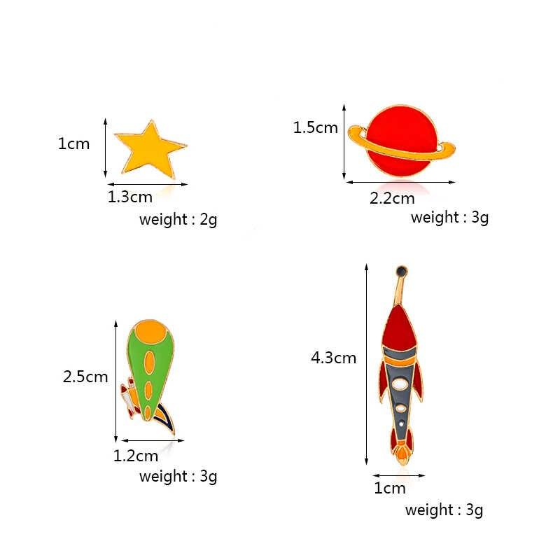 Terbang Alat Pin Pesawat Pesawat Roket UFO Bintang Bros Lencana Ransel Enamel Pin untuk Aerospace Penggemar Hadiah Perhiasan Grosir