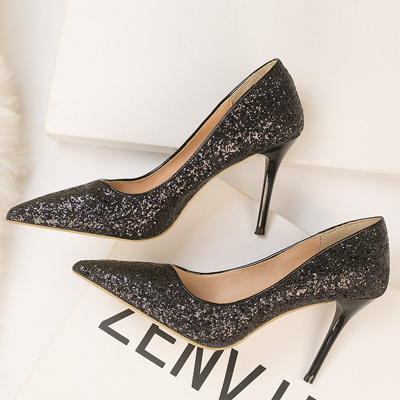 Ou Mo brand fashion High heels women's shoes Shallow mouth pointed toe Gradient sequins Female sandals wedding Women's shoes