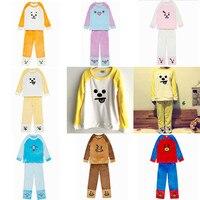 Kpop BTS Bangtan Boys Korean RM LY Kawaii Cartoon Soft Pajamas Sleepwear SHOOKY RJ BT21 CHIMMY TATA COOKY Flannel Tracksuit Set
