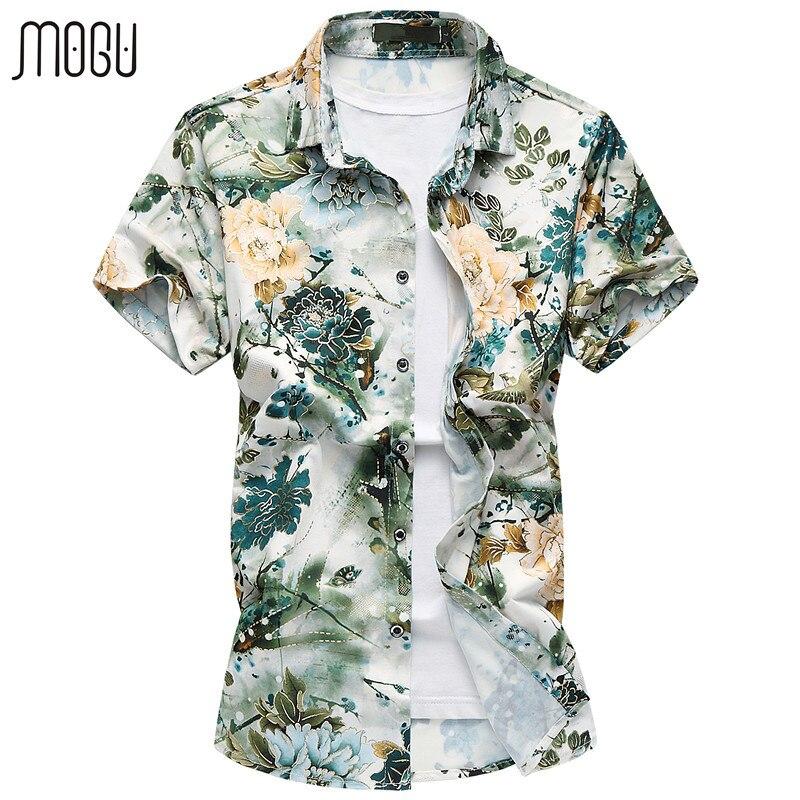 موجو الرجال قصيرة الأكمام عارضة قميص أزياء الأزهار هاواي قميص يتأهل 2017 جديد طباعة رجل اللباس قميص زائد حجم قميص الرجال