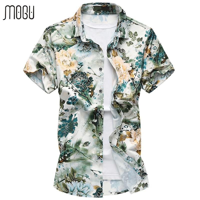 MOGU rövid ujjú alkalmi férfi ing divat virág Hawaii póló Slim Fit 2017 Új nyomtatás Férfi ruha ingek Plusz méretű férfi ing