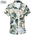 MOGU Short Sleeve Casual Men Shirt Fashion Floral Hawaiian Shirt Slim Fit 2017 New Print Mens Dress Shirts Plus Size Men's Shirt