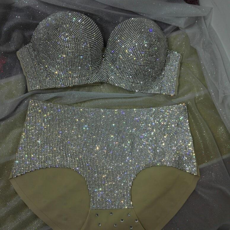Sexy Dessous Glisten Bra Kurzes Outfit Nachtclub Bar DJ Sänger Ds Kostüme Set Hochwertige Hot Drilling Bikini Tanzkostüme