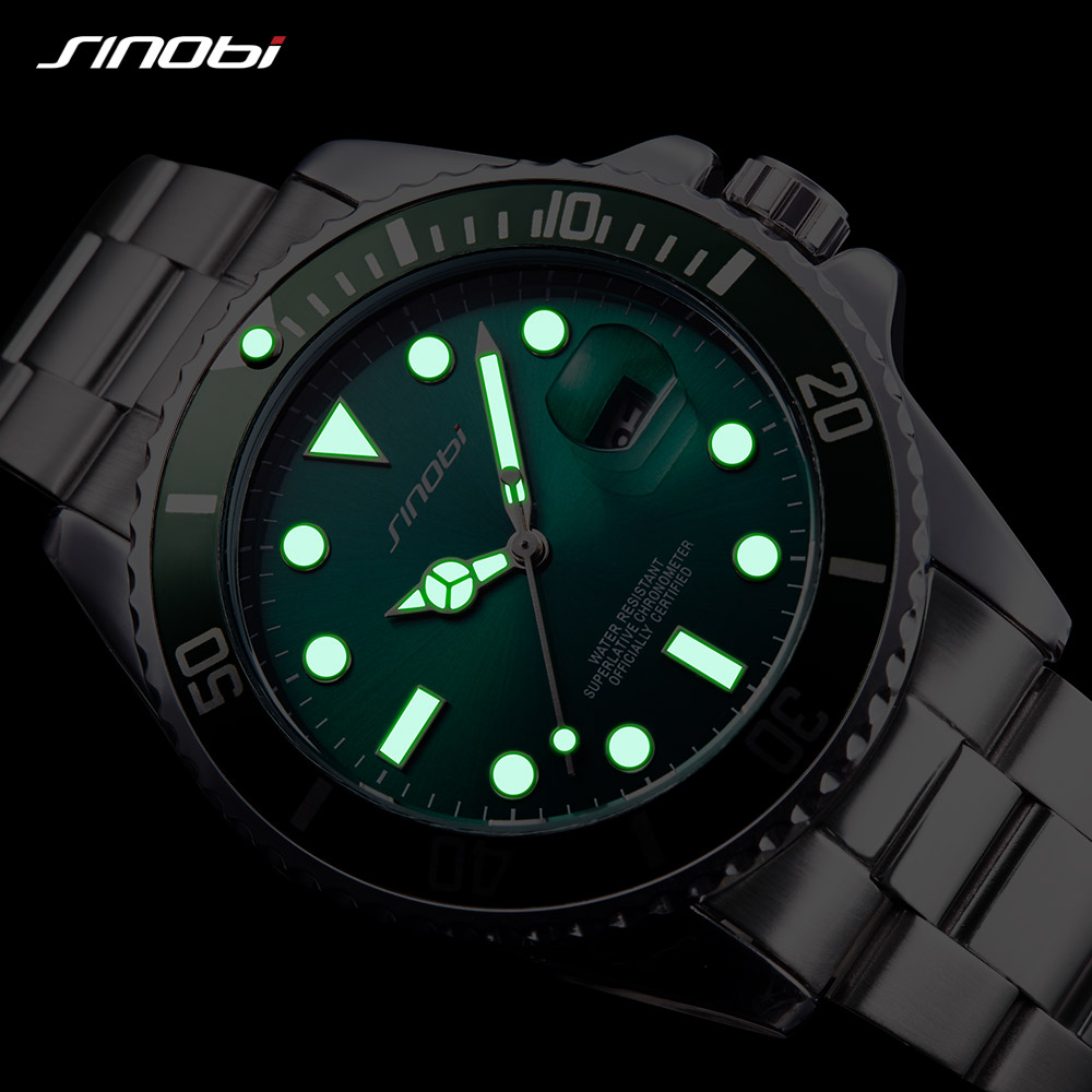 SINOBI Watch Men Golden Watches Luminous Pointer Stainless Steel Watchband Luxury Male Rolexable Geneva Quartz Wristwatches 3