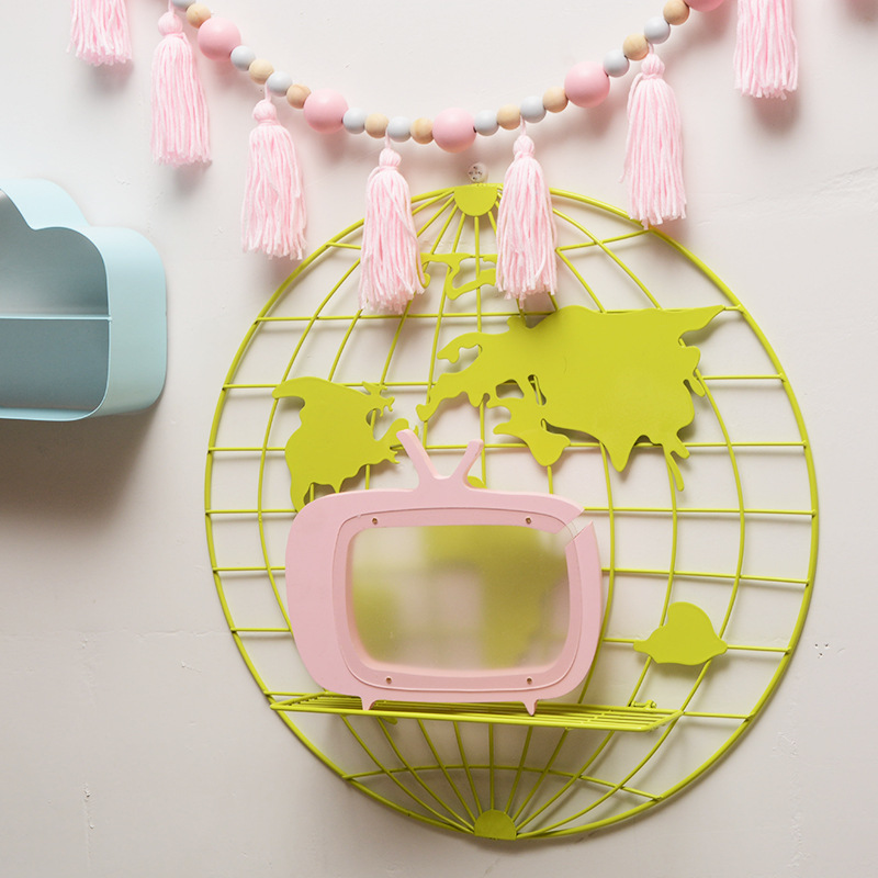 Image 5 - 2018 새로운 노르딕 스타일 스칸디 나비아 장식 금속 세계지도 선반 금속 보드 키즈 룸 장식 주최자 스토리지 홀더-에서풍경 & 벽 장식부터 홈 & 가든 의