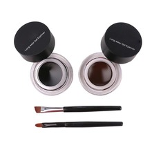 Best Seller 2 in 1 Coffee + Black Gel Eyeliner Make Up Waterproof Cosmetics Set Eye Liner Makeup Eye maquiagem1049(China)