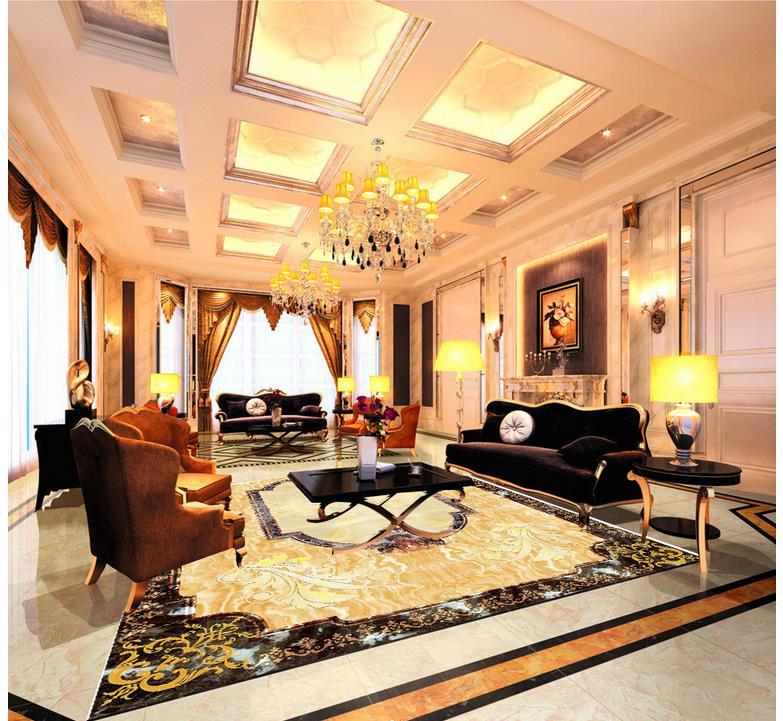 3d plancher peinture papier peint Jade Rose 3D lotus plancher 3d papier peint pvc plancher papier peint décoration de la maison