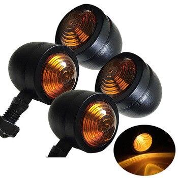 4pcs Black Bullet Motorcycle Turn Signal Indicator Lamp Light Moto Blinker Light For Harley Honda Fatboy Chopper Bobber Suzuki