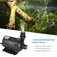 12V 45.6W 1200L/H 8m Brushless Water Pump Waterproof Submersible Pump for Aquarium Fish Tank Fountain Pond Hydroponic Systems