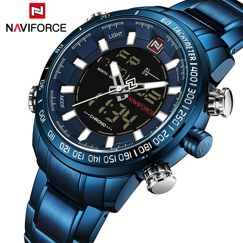2018 Men Watches Luxury Brand NAVIFORCE Army Military Sport Watch Men Full Steel Quartz Digital Analog Clock Relogio Masculino