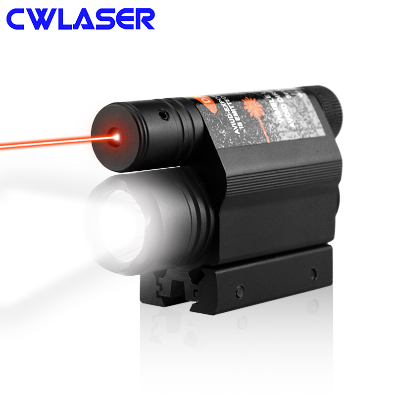 CWLASER 5mW Red Laser Gun Sight Scope with Q5 LED Flashlight Hunting Light Red Laser (Black)