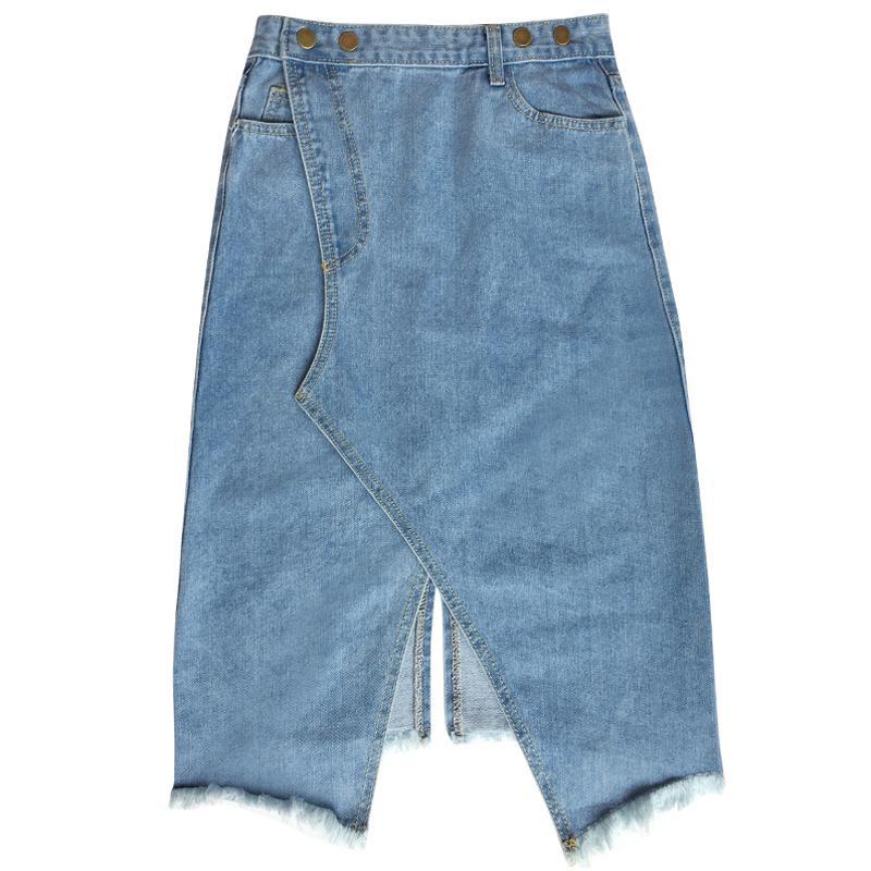 1efb59c7f61 Detail Feedback Questions about GETSRING Girls Denim Skirts All match Blue  Jeans Skirt Asymmetrical High Waisted Front Slit Sexy Long Skirt Denim  Clothing ...