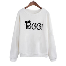 Funny Pullvover Crewneck Hoodies White Black Casual Female Tracksuit Cute Cartoon Mouse Boo Sweatshirt Clothing Women