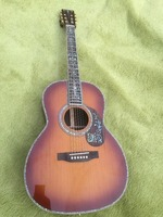 China Guitar Factory Custom OOO Body Luxury Classic Sound Acoustic Guitar AAA Solid Spruce Top Real