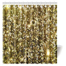 CHARM HOME Gold Sparkle Glitter Polyester Fabric Waterproof