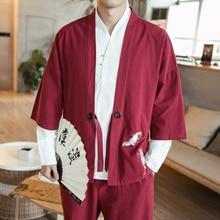 Kimono Nam Giới của Áo Japanese Harajuku Kimono Cotton Thêu Áo Sơ Mi Trung  Quốc Phong 488673969