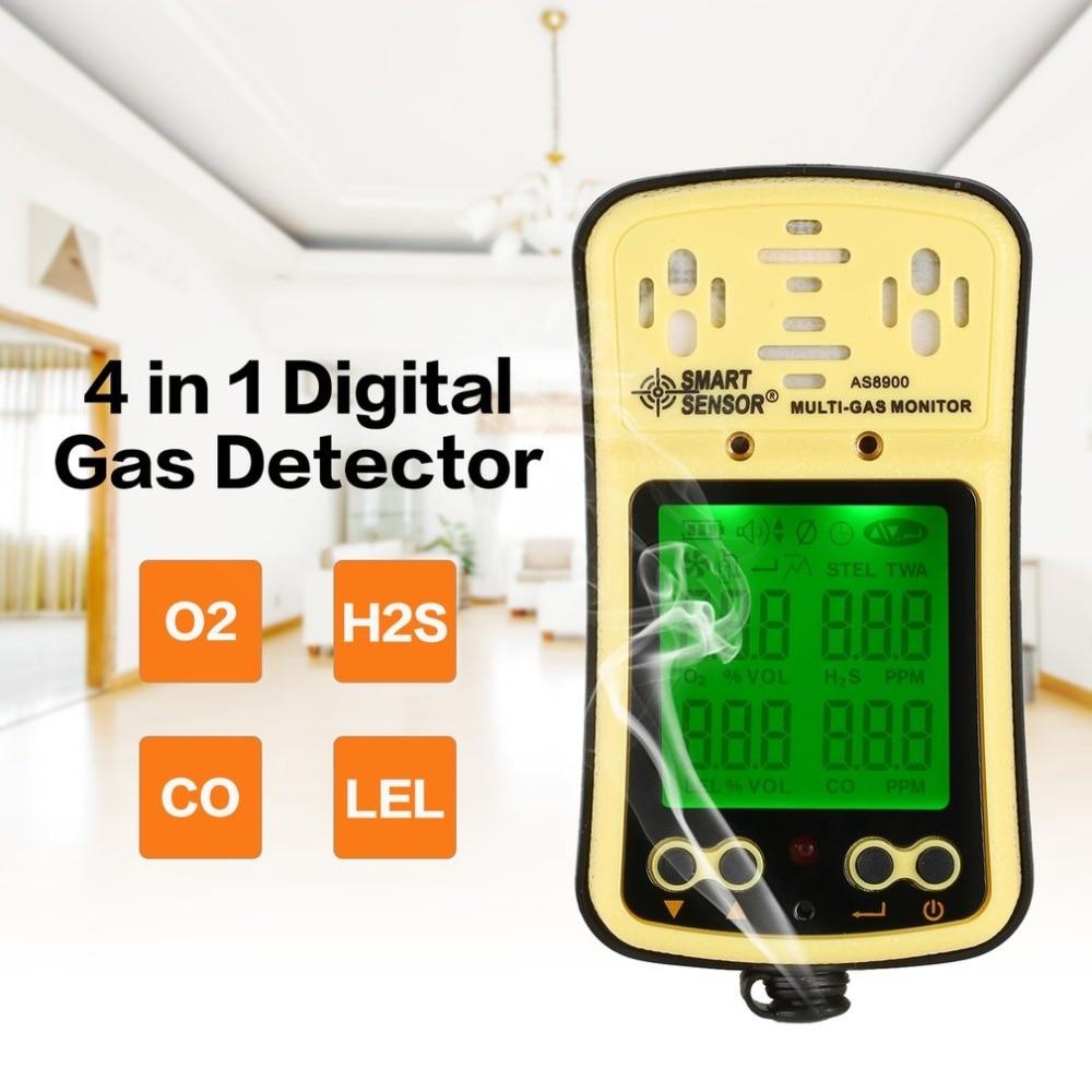 4 in 1 AS8900 Digital Gas Detector O2 H2S CO LEL Handheld Mini Gas Monitor Analyzer Air Monitor Leak Tester Carbon Meter EU Plug digital gas detector 4 in 1 o2 h2s co lel handheld mini gas analyzer air monitor gas leak tester carbon monoxide meter