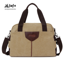 Large Casual Canvas Shoulder Travel Bags Men Fashion Patchwo