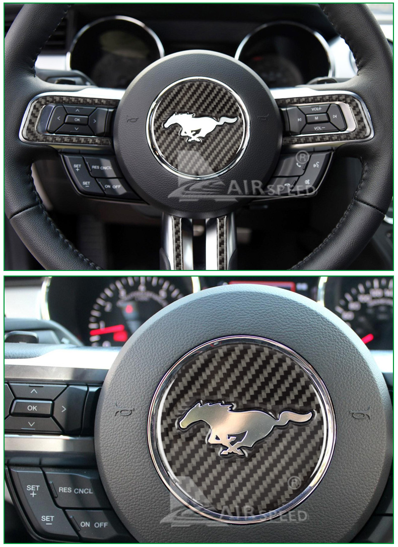 carbon fiber steering wheel cover for ford mustang (5)