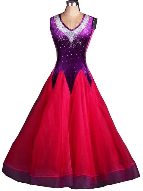 plus size Red rhinestone Tassel Ballroom dancing dresses Viennese ...
