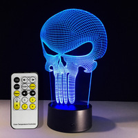 Free Shipping 1Piece Punisher Skull Multi Colored Bulbing Light Acrylic 3D Hologram Illusion Desk Lamp