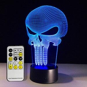 Free Shipping 1Piece Punisher Skull Multi-colored Bulbing Light Acrylic 3D Hologram Illusion Desk Lamp
