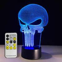 Livraison gratuite 1 pièce punisseur crâne multicolore Bulbing lumière acrylique 3D hologramme Illusion lampe de bureau