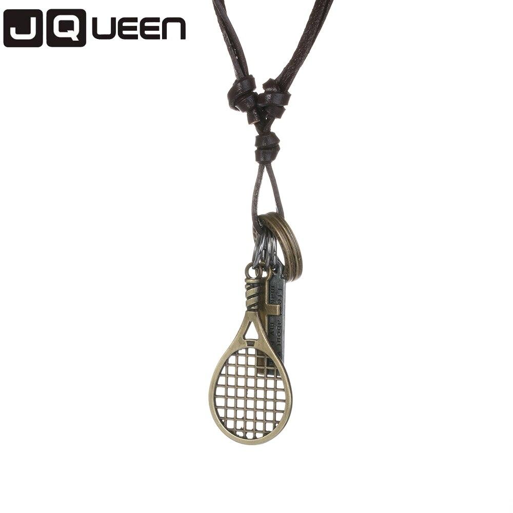 Tennis Racket/Badminton Racket/Peace/Letter Yes Pendant Leather Necklace For Men/Women Gift Long Necklace