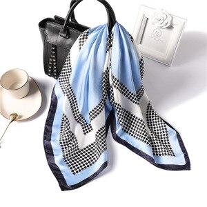 Image 1 - 女性ポルカドットプリントソフトハンドルバッグファム髪スカーフ教徒ヒジャーブヘッドバンドバンダナ正方形の絹のスカーフ70x70